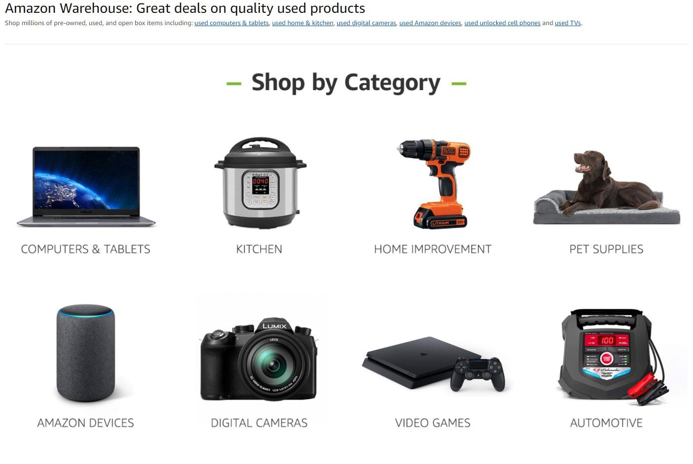 раздел Amazon Warehouse